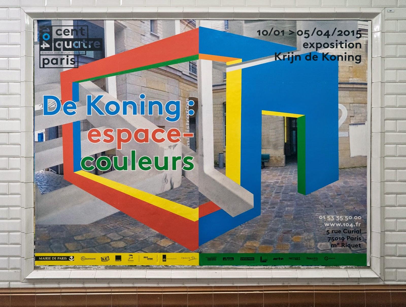 Krij de Koning exhibition poster in the metro corridors in Paris